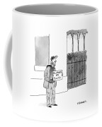 A Homeless Man Holds A Sign That Says 'followed Coffee Mug