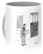 A Homeless Man Holds A Sign That Says 'followed Coffee Mug by Pat Byrnes