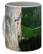 A Horizontal Image Of A Women In A Blue Coffee Mug