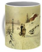 A Horse Drawn Sleigh In A Winter Landscape Coffee Mug