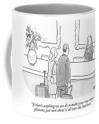 A Hotel Receptionist Welcomes A Couple At A Check Coffee Mug