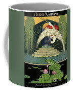 A House And Garden Cover A Bird Over A Pond Coffee Mug