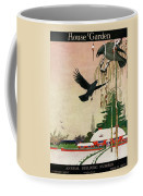 A House And Garden Cover Of Crows By A House Coffee Mug