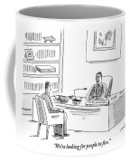 A Human Resources Office Worker Speaks To An Coffee Mug