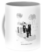 A Husband And Wife At A Funeral Comfort Coffee Mug by Emily Flake