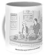 A Husband Helps In The Kitchen As His Wife Coffee Mug