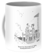 A Husband Talks To A Wife On A Porch Of A Beach Coffee Mug