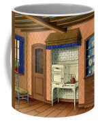 A Kitchen With An Old Fashioned Oven And Stovetop Coffee Mug