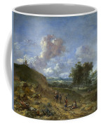 A Landscape With A High Dune And Peasants On A Road Coffee Mug