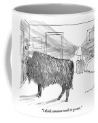 A Large Buffalo Stands Near The Door Coffee Mug
