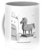 A Large Wooden Horse Coffee Mug