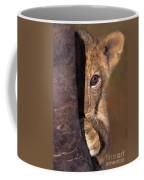 A Lion Cub Plays Hide And Seek Wildlife Rescue Coffee Mug