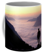 A Lone Hiker Above The Clouds Coffee Mug