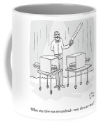 A Magician Holding A Saw Shows Two Boxes Coffee Mug