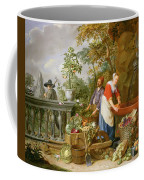 A Maid Washing Carrots At A Fountain Coffee Mug