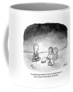 A Man And 3 Children Sit Around A Fire Coffee Mug by Tom Toro