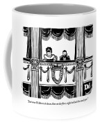 A Man And A Woman Are Sitting In The Balcony Coffee Mug
