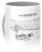 A Man And A Woman Lie Down On Reclined Beach Coffee Mug by Mick Stevens