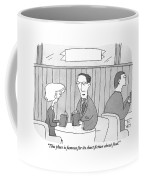 A Man And A Woman Sit At A Table In A Restaurant Coffee Mug