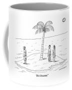 A Man And A Woman Stand On One Coast Of A Tiny Coffee Mug