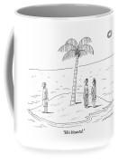 A Man And A Woman Stand On One Coast Of A Tiny Coffee Mug