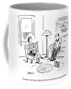 A Man And A Woman Talk In Their Living Room Coffee Mug