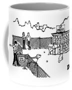 A Man And Dog Enter A Dog Run Coffee Mug