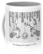 A Man And Woman Are Camping And The Woman Roasts Coffee Mug
