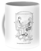 A Man And Woman Are Having Coffee Together Coffee Mug