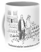 A Man And Woman Are Seen Walking Through A Garden Coffee Mug