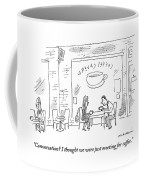 A Man And Woman Sit In A Coffee Shop Coffee Mug