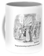 A Man And Woman Talk At The Bar Coffee Mug by Liam Walsh