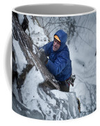 A Man Ascends A Dramatic, Challenging Coffee Mug