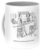 A Man At A Bar Wears Ladies' Shoes Coffee Mug