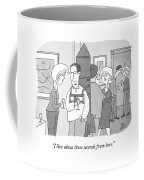 A Man At A Cocktail Party Wears A Rocket Pack Coffee Mug