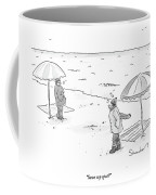 A Man Bundled Up In Winter Gear Departs Coffee Mug