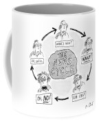 A Man Goes Through Cyclical Reactions To A News Coffee Mug