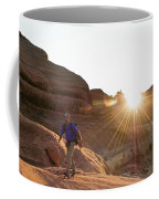 A Man Hiking In The Needles District Coffee Mug