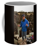 A Man Holds Climbing Gear And Smiles Coffee Mug