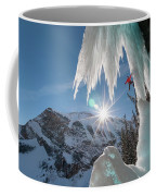 A Man Ice Climbing Louise Falls Coffee Mug