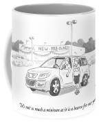 A Man In A Minivan Speaks To A Woman At A Car Coffee Mug
