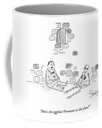 A Man In A Prison Speaks To The Skeleton Coffee Mug