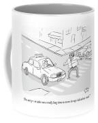 A Man In A Puffy Winter Coat Walks Awkwardly Coffee Mug