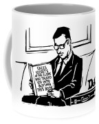 A Man In A Suit Reads A Book With The Title: Coffee Mug