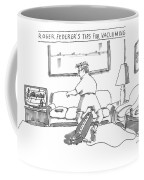 A Man In Tennis Clothes Vacuums With The Vacuum Coffee Mug