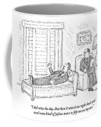 A Man Is Laying On The Psychiatrist's Couch Coffee Mug