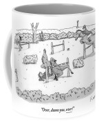 A Man Is Riding A Horse In A Competition. Instead Coffee Mug