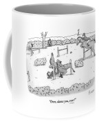 A Man Is Riding A Horse In A Competition. Instead Coffee Mug by Zachary Kanin