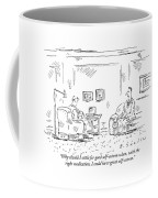 A Man Is Seen Sitting And Talking Coffee Mug by Barbara Smaller