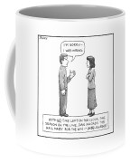A Man Is Seen Speaking With A Woman Coffee Mug